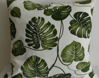 Monstera pillowcase, jungle cushion cover, urban jungle throw pillow, floral pillow cover, botanical pillow, green monstera leaf print