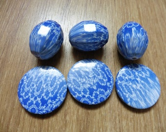 Blue and white chunky beads
