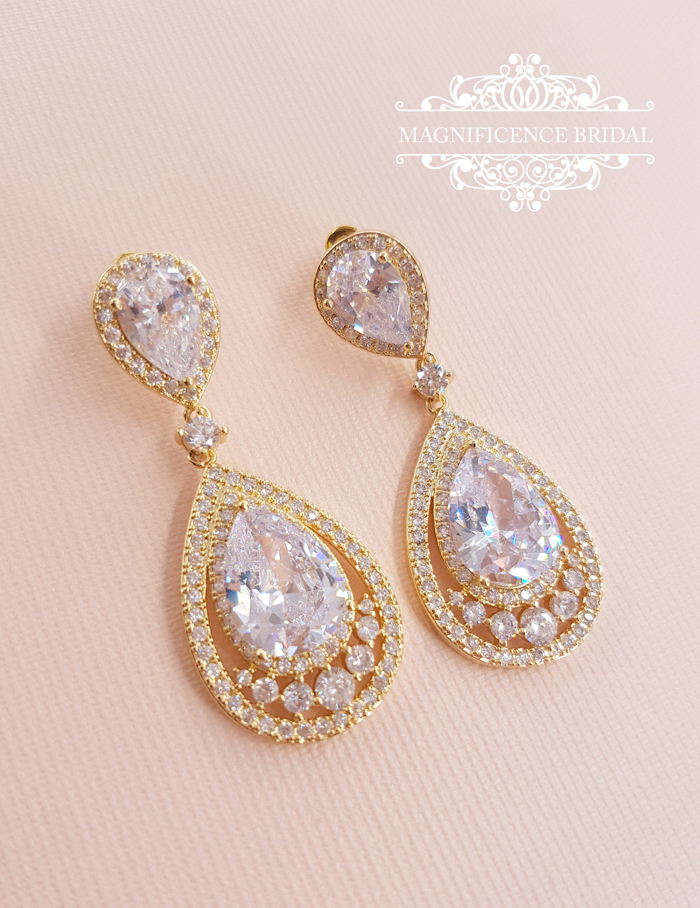 bridal drop earrings pear cubic zirconia dangle earrings bridal