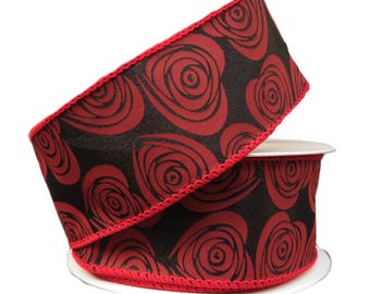 15 red black floral hearts ribbon tr65109 12 red black valentine ribbon