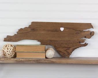 North Carolina State Shaped Wood Cutout Sign Wall Art With Heart Or Star. 6  Stain