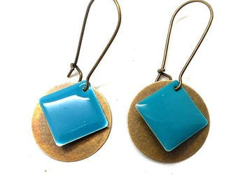 Earrings sleepers bronze round sequin and turquoise enameled