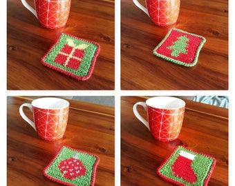 Crochet Christmas Coaster Set