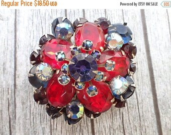 Half off Vintage Rhinestone brooch of many colors AC100