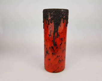 Red/black Fohr Keramik Fat Lava Vase