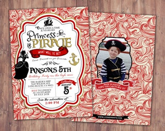 Pirate and Princess Party Invitations Personalised. Pirate and Princess Birthday Invitation, Princess and Pirate invitation ,Twins birthday