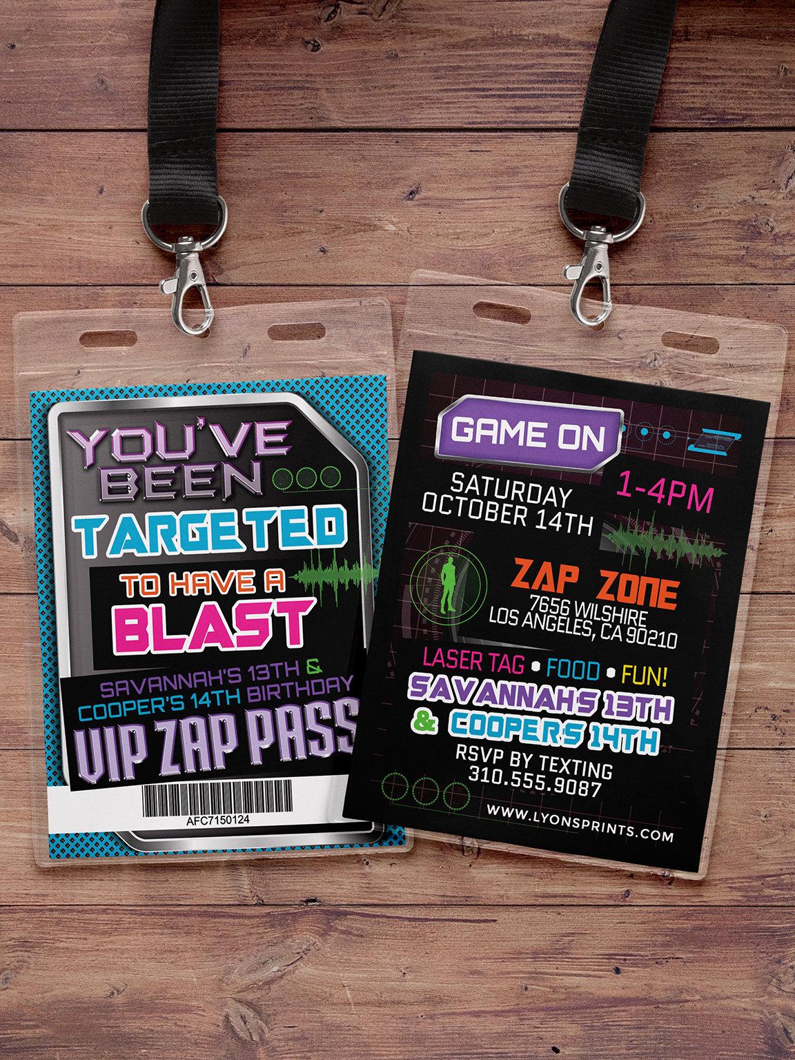 Laser Tag Invitation Vip Pass Birthday Invitations For