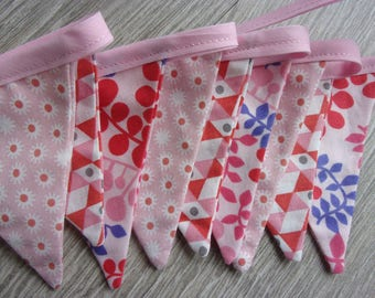 """9 """"Coral pink"""" Bunting for little girl's room, shades of pink and coral, with a touch of purple"""