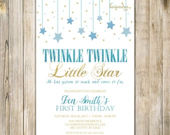 Twinkle TWINKLE LITTLE STAR Birthday Invitation, Blue Gold Glitters Stars Boy One Birthday Invite, Boy 1st First Birthday Printable Digital