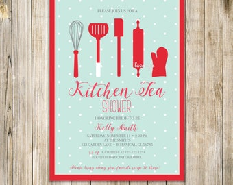 KITCHEN TEA SHOWER Invitation, Kitchen Tea Party Invite, Kitchen Shower Invites, Bridal Shower, Couple Shower,  House Warming, Home Warming