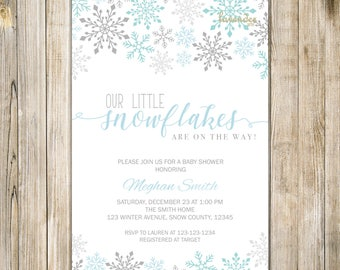 LITTLE SNOWFLAKES On The Way Baby Shower Invitation, Blue Silver Holiday Baby Boy Shower Invite, Winter Baby Shower, Twins Baby Shower Boy
