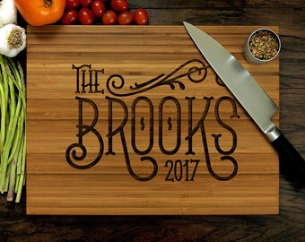 Personalized Cutting Board, Custom Wedding Gift, Family Monogram, Date, Customizable, Engraved Cutting Board, Housewarming Gift, Newlyweds