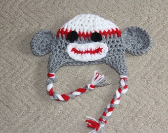 Infant/ Newborn 0-3 months crochet sock monkey hat