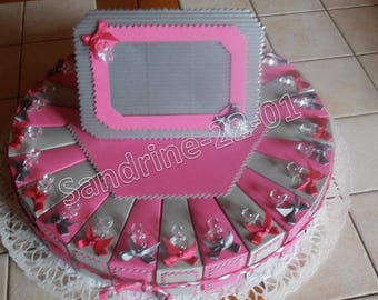 """30 cake boxes dragées """"nipples"""" silver and fuchsia"""