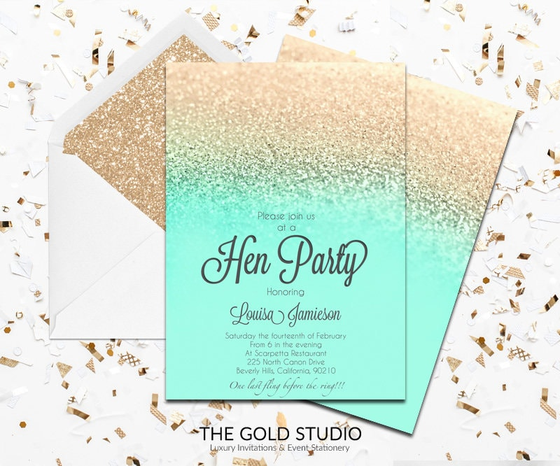 Mint & Gold Glitter Hen Party Invitation | Modern Elegant Printed ...