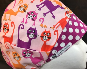 Kitty Cats Surgical Cap Bouffant Scrub Hats for Women OR Nurse Tech Surgery Purple Pink LoveNstitchies Chef Vet Medical CRNA Anesthesia