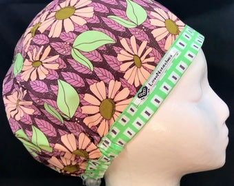 Succulent Daisies LoveNstitchies Euro Surgical Cap Womens Scrub Hats Surgery Nurse Caps OR Tech Hat Purple Green Pink CRNA Vet RNFA