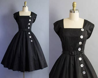 1950s Black Day Dress/ 50s LBD with buttons/ Small (36b/26w)