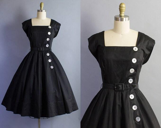1950s Black Day Dress/ Small (36b/26w)
