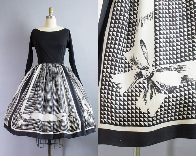 1950s Silk Bow Border Print Party Dress/ Small (34B/25W)