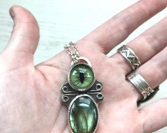Seer- Taxidermy Cat Eye and Labradorite Necklace