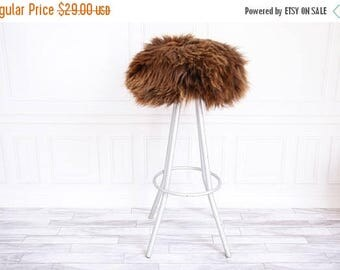 ON SALE Sheepskin Stool Cover   Round Stool Cover   Furry Stool   Scandinavian Decor   Stool Cover   Ottoman Cover   Chair Pad