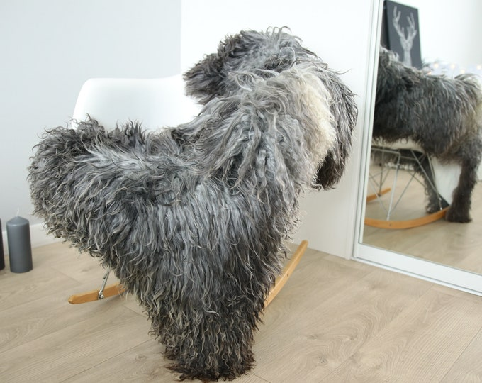 Genuine Rare Gotland Sheepskin Rug - Curly Fur Rug - Natural Sheepskin - Gray  Sheepskin #FEBGOT24