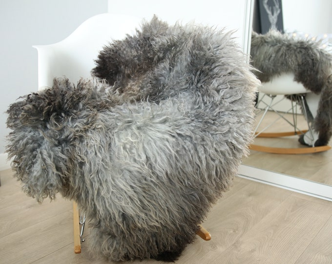 Genuine Rare Gotland Sheepskin Rug - Curly Fur Rug - Natural Sheepskin - Gray Sheepskin #FEBGOT29