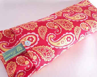 Soothing Lavender Eye Pillows - Red Paisley Pattern
