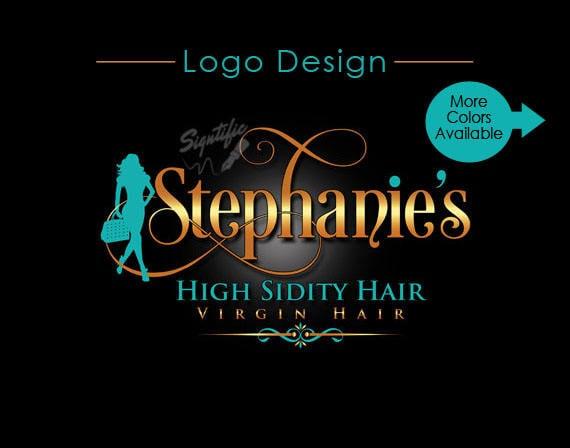 Hair Tag Logo, Virgin Hair logo design, Hair Extensions Logo, Hair Business Logo, Hang Tag Logo Design, Logo with Silhouette Design