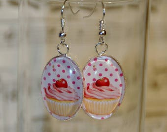 Earrings oval cupcakes