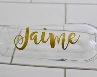 Set of 8 Personalized Champagne Flutes // Bridesmaids Gift // Monogrammed Stemless Champagne Flute
