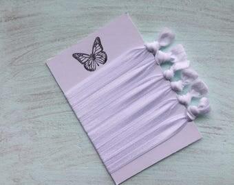 White Bridal prep elastic hair ties Foe hair ties No crease Elastic ribbon hair ties Yoga ties  Gift idea ponytail holder hair accessory