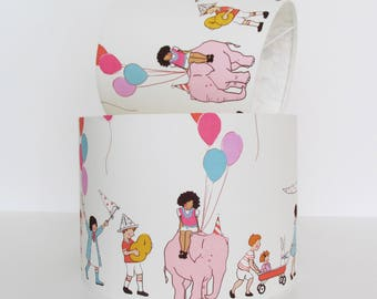White Nursery Lampshade Elephants by Michael Miller