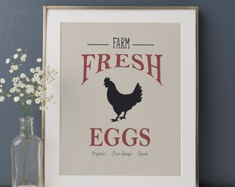 Farm Fresh Eggs Print, Farmhouse Sign, Farmhouse Kitchen, Rustic Kitchen, Kitchen Art Print, Vintage Kitchen Decor