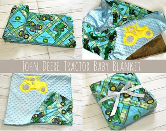 Green/Blue John Deere Tractor's Print  Baby Blanket & Changing Pad Cover