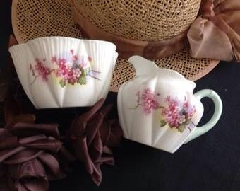 "Shelley ""Stocks"" dainty shape . Milk jug and sugar bowl."