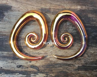 "24 K Ruby Gold Tear Drop Spirals 10g 8g 6g 4g 2g 0g 00g 7/16"" 1/2"" 9/16"" 5/8""  2.5 mm 3 mm 4 mm 5 mm 6 mm 8 mm - 16 mm"