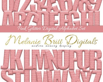 PINK GLITTER ALPHABET, digital alphabet clipart, pink glitter letters and numbers, scrapbook alphabet, printable alphabet pdf