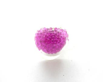 ring glass with pink microballs