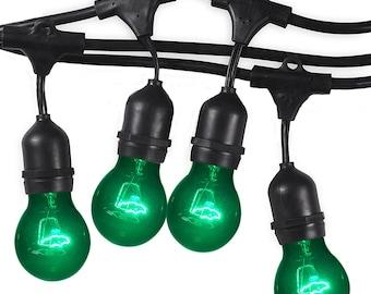 Premium Weatherproof, Indoor/Outdoor String Lights –48-Foot Strand with 16 Sockets – Green Light Bulbs Included