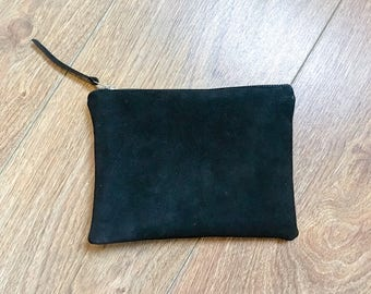 Luxury black suede clutch bag