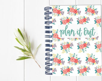 Small Undated Inspirational Motivational Planner - One Year Fill in Calendar Planner - Weekly Planbook - Monthly Floral Notebook Schedule