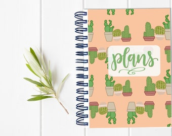 Large Undated Inspirational Planner - One Year Fill in Calendar Notebook - Cactus Weekly Planbook - Monthly Weekly Student Schedule