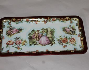 Vintage Tray, Made in England, with People on the Front that are Dressed Old Fashioned, Mint Condition for Vintage Gorgeous, Home Decoration