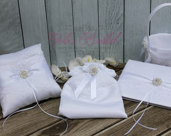 FAST SHIPPING!! Guest Book and Ring Pillow Set, Set includes Guest Book, Ring Bearer Pillow, Flower Girl Basket, Money/Cosmetic Bag