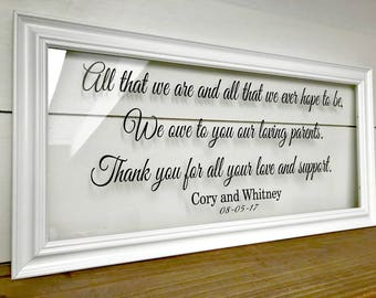 Parents of the Bride Gift Parents Wedding Gift Mother in Law Gift Father in Law Gift Parents of the Groom Gift Thank You Gift A123