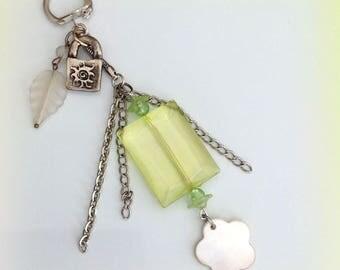 Key ring, green, charm, chains.