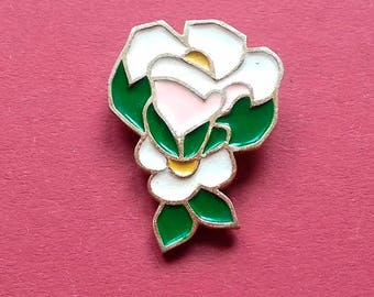 White-pink rose. Vintage collectible badge, Soviet Pin, Soviet Union, USSR