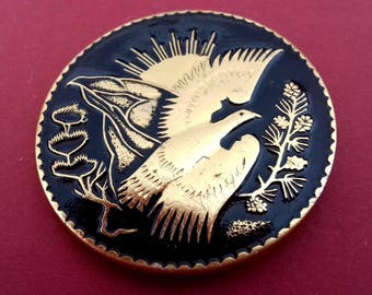 Bird Pin. Rare Vintage collectible childrens soviet pin badge. / Made in USSR, 1970s
